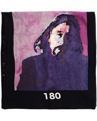 Yohji Yamamoto Black Sillk Printed Scarf