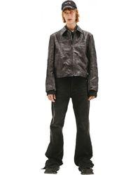 Balenciaga Черная Кожаная Куртка С Потертостями - Черный