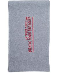 Raf Simons Embroidered Wool & Cashmere Scarf - Grey