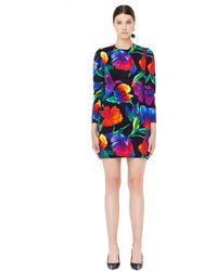 Balenciaga Платье Из Неопрена С Цветочным Принтом - Многоцветный
