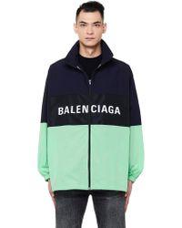 Balenciaga - Black & Green Logo Zip Track Jacket - Lyst