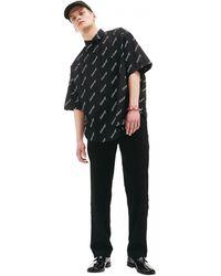 Balenciaga Рубашка С Коротким Рукавом И Монопритом - Черный