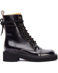 Maison Margiela Кожаные Ботинки На Шнуровке - Черный