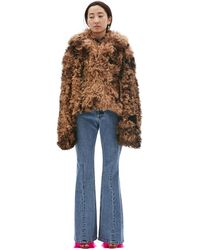 Vetements Cropped Sheepskin Fur Coat - Brown
