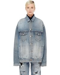 Balenciaga Distressed Denim Jacket - Blue