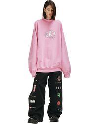 Balenciaga Розовый Свитшот С Вышивкой 'gay Pride'