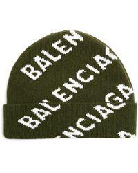 Balenciaga All Over Logo Wool Beanie - Green