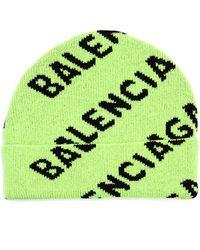 Balenciaga Шапка All Over Logo Салатового Цвета - Зеленый