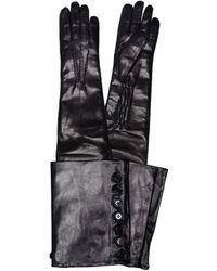 Ann Demeulemeester Кожаные Перчатки С Пуговицами Joris - Черный