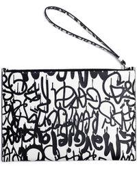 Maison Margiela Graffiti Printed Leather Wash Bag - Black