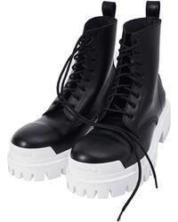 Balenciaga Strike Boots With While Sole - Black