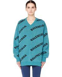 Balenciaga - Turquoise Jacquard Logo Wool Sweater - Lyst