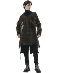 Ann Demeulemeester Рубашка Из Тонкого Льна - Черный