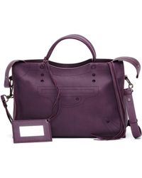 Balenciaga Blackout City Purple Leather Handbag