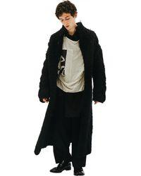 Yohji Yamamoto Шерстяное Пальто Крупной Вязки - Черный