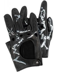 Yohji Yamamoto Кожаные Перчатки С Принтом - Черный