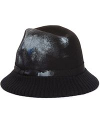 Yohji Yamamoto Шляпа С Вязаными Полями И Следами Краски - Черный