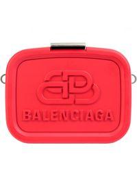 Balenciaga Clutch Bag With Belt & Logo - Red