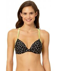 InMocean Juniors Snowstorm Cross Back Triple Straps Push Up Bra Swim Top - Black