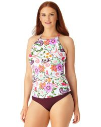 Anne Cole - Plus Size Live In Color High To Low Convertible Waist Shirred Swim Bottom - Lyst
