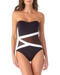 Anne Cole Colorblock Mesh Bandeau One Piece Swimsuit - Black