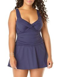 Anne Cole Twist Front Shirred Underwire Swim Dress - Blue