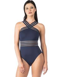 Kenneth Cole - Stompin In My Stilettos High Neck Cross Front Mio One Piece Swimsuit - Lyst