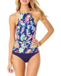 Anne Cole - Paisley Pom High-neck Strappy-back Tankini Top - Lyst