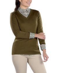 SwingDish Eve V-neck Sweater - Green