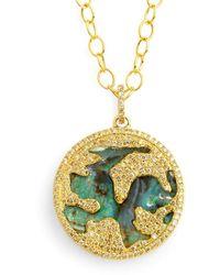 SYNAJEWELS Boulder Opal World Pendant With Diamonds - Metallic