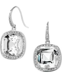 SYNAJEWELS Mogul Rock Crystal Cushion Diamond Earrings - Metallic