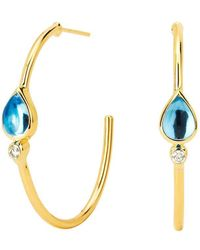 SYNAJEWELS Blue Topaz And Diamond Mogul Hoops - Multicolour