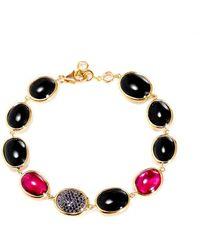 SYNAJEWELS Candy Rubellite Black Spinel Bracelet