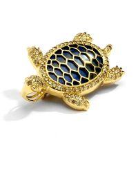 SYNAJEWELS Chrysocolla Turtle Brooch Pendant - Multicolour