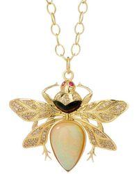 SYNAJEWELS Jardin Opal Queen Bee Pendant - Metallic