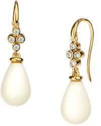 SYNAJEWELS White Agate Diamond Drop Earrings - Multicolor