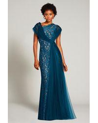 Tadashi Shoji Eslem Draped Tulle Gown - Blue