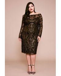 Tadashi Shoji Bane Off-the-shoulder Sequin Embroidered Dress - Plus Size - Black