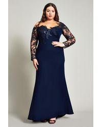 Tadashi Shoji Zelter Asymmetric Floral Gown - Plus Size - Blue