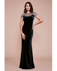 Tadashi Shoji Imelda Velvet Evening Gown - Blue