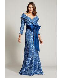 Tadashi Shoji Hina Portrait Collar Gown - Blue
