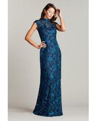 Tadashi Shoji Qara Embroidered Gown - Blue