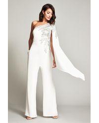 Tadashi Shoji Columba One-shoulder Sequin Crepe Jumpsuit - White