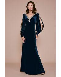 Tadashi Shoji Tuyen Velvet Evening Gown - Blue