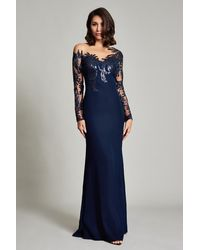 Tadashi Shoji Zelter Asymmetric Floral Gown - Blue