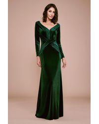 Tadashi Shoji Hopkins Long-sleeve Velvet Gown - Green