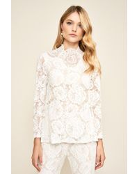 Tadashi Shoji Sidney Long Sleeve Lace Top - White