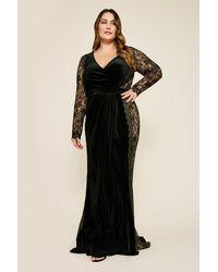 Tadashi Shoji Molin Long-sleeve Velvet Gown - Plus Size - Black