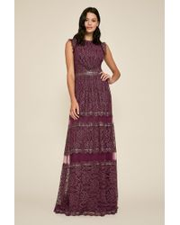 e37744027e567 Lyst - Patra Sleeveless Metallic Lace Gown And Jacket in Purple