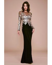 Tadashi Shoji Finley Long Sleeve Crepe Sequin Gown - Black